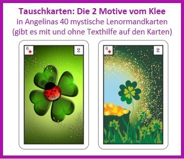 Lenormand Klee 2 Motive als Tauschkarten