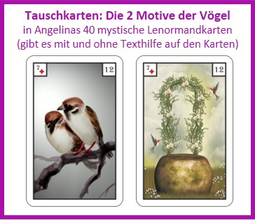 Lenormand Voegel 2 Motive als Tauschkarten