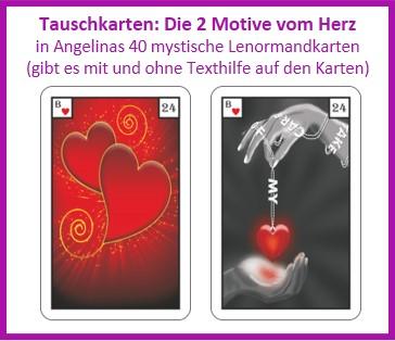Lenormand Herz 2 Motive als Tauschkarten