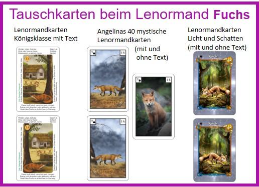 Lenormand Fuchs Motive als Tauschkarten