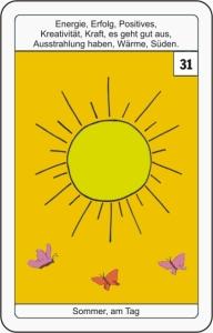 Lenormandkarte 31 die Sonne