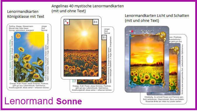 Lenormand Sonne - Kartendeck