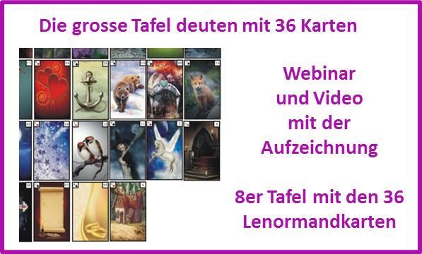Kartenlegen lernen im Video zur grossen Tafel mit den 36 Lenormandkarten
