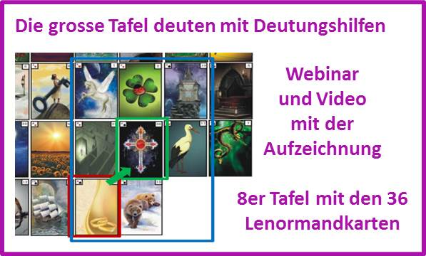 Kartenlegen lernen und die grosse Tafel mit den 36 Lenormandkarten deuten