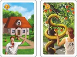 Haus und Schlange aus dem neuen Lenormandkartendeck