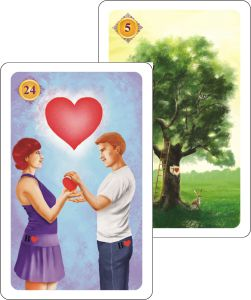 Kartenlegen Haeuserdeutung - Herz auf Haus Baum