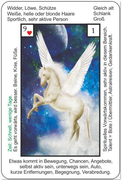 Lenormand Rueckfuehrung mit Karten - Beispiel der Reiter aus den mystischen Lenormandkarten