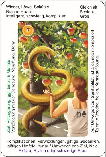 Lenormand Rueckfuehrung mit Karten - Beispiel die Schlange aus dem Deck Lenormandkarten Koenigsklasse mit Text