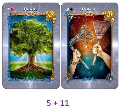 Kartenkombination Baum und Ruten